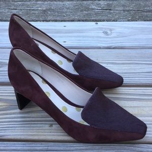 Boden Brown Genuine Suede Leather calf hair pumps